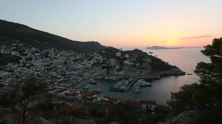 Top view of Hydra island, at dusk. Greece.