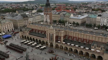 sukiennice : Top view of the cloth hall in main market square in Krakow. Stock Footage