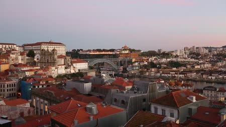 Top view on the historical centre of Porto at dusk, Portugal.