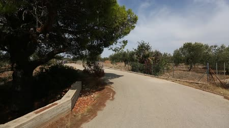 Driving on the motorcycle through a the serpentine roads. Greece. Stock Footage