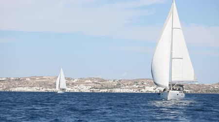 Boat in sailing regatta. Luxury yachts.