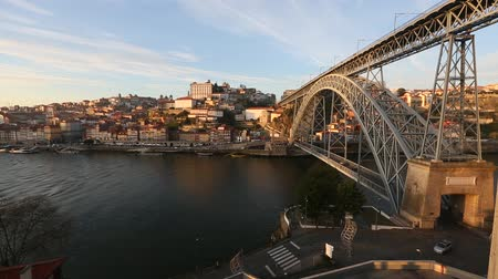 View of Douro river and Dom Luis I bridge, Porto, Portugal. Stock Footage