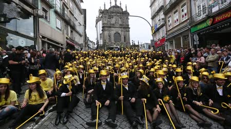 PORTO, PORTUGAL - MAY 9, 2017: Participants of Queima Das Fitas Parade - traditional festivity of students of Portuguese universities. Portos Queima was the first to reborn after the 1974 revolution.