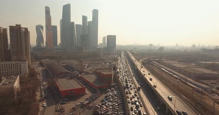 autobahn : Moscow City, Russia. Big traffic. Sunny day. Drone is flying above the road with cars. Stock Footage