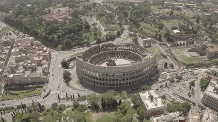 amphitheatre : Aerial footage of Coliseum from drone, Rome, Italy. Drone flying around the ancient amphitheatre.