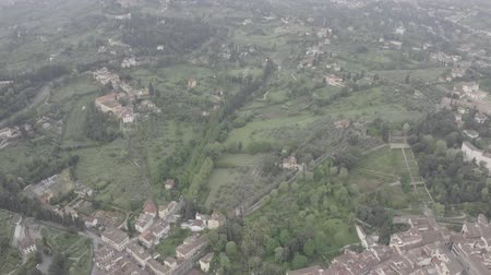 renaissance : Aerial view of Tuscany landscape in Florence center. Green hills, mountains, cypress trees, orange roofs, Arno river. Italy from drone. Florence from drone