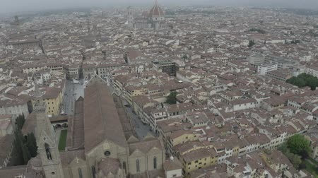 palazzo : Aerial view of Cathedral Santa Maria del Fiore and Palazzo Vecchio near Arno River. Florence historical center from drone. Tuscany, Italy. LOG. Stock Footage