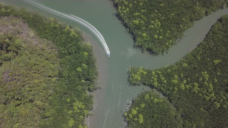 kilim : Aerial view of bay and river in Park Kilim Geoforest, Langkawi, Malaysia. Beautiful mountains, sea and trees around the river. Boat sailing on the river