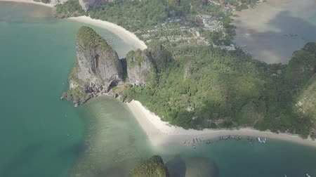 phra : Aerial view of limestone rocks in sea, Phra Nang beach, Krabi Province, coastline Phuket, Thailand. Travel time, nature from drone. Scenic view.