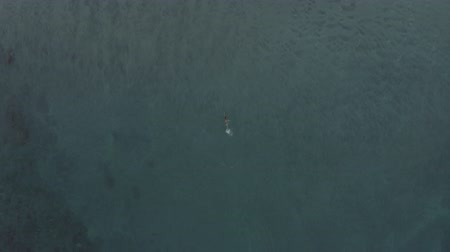 南の : Aerial view of man swimming in clear blue sea ocean, Bali, Indonesia.