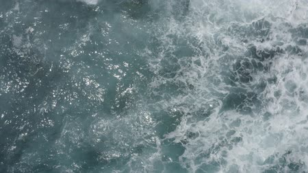 poloostrov : Aerial view of big waves foaming and splashing in sea, Sunny day. Island Bali, Indonesia. Indian ocean.