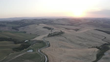 eend : ITALY, ASCIANO - JULY 3, 2019: Aerial footage of Tuscany landscape and Asciano villa, curved road with cypress trees, field around at summer sunset. Siena, Italy. D-log. Stockvideo