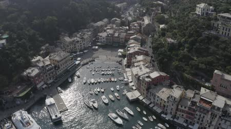 Aerial view of Portofino Bay with yachts, boats, colorful houses. Summer Town near the water, sea coastline, landscape, Liguria, Italy.