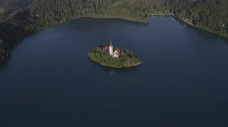 Aerial view of small island with Church of assumption of Mary in the middle of Lake Bled, Slovenia. Summer Green Mountains landscape around lake. Stok Video