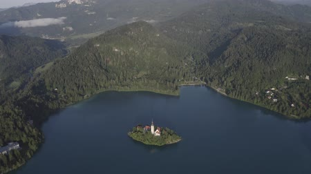 Aerial view of small island with Church of assumption of Mary in the middle of Lake Bled, Slovenia. Summer Green Mountains landscape around lake. Dostupné videozáznamy