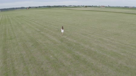 go away : Aerial footage of young brunette girl with long hair in white dress runs in a large empty field with open hands. Drone flying after the woman. On the background village houses. Stock Footage