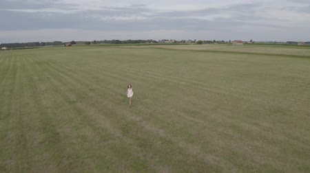 Aerial footage of young brunette girl with long hair in white dress runs in a large empty field with open hands. Drone flying after the woman. On the background village houses. Stok Video
