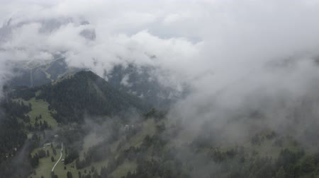 arborizado : Aerial view of Dolomites mountain valley, wooded hills, fir trees, pine trees. Drone flies through clouds. Geisler or Odle Dolomites Group. Alps, South Tyrol, Italy.