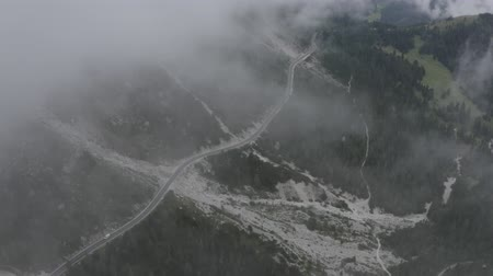 arborizado : Aerial view of Dolomites valley. Drone flies to sheer cliffs through clouds above green meadows, spruces, cars driving on road along mountain foot. Geisler or Odle Dolomites Group. South Tyrol, Italy. Vídeos