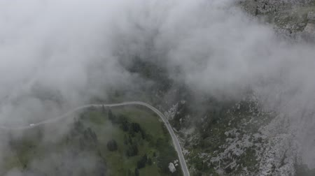 arborizado : Aerial view. Dolomites. Drone flies through clouds above winding road and fir tree tops to mountain peaks. Cars going on road. South Tyrol. Italy Vídeos