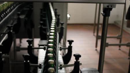 montaj : Technological line for bottling of beer in brewery 7199 Stok Video