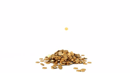 znak : HQ Animation of Falling Golden Coins on white background. With Alpha Channel