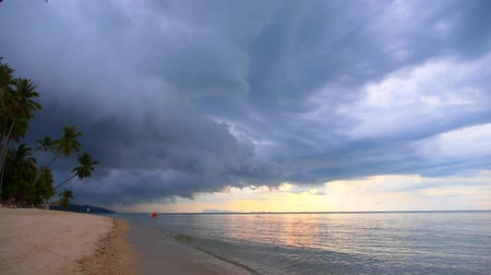 гром : Dark storm clouds before rain over palms and sandy beach during sunrise. Thailand.