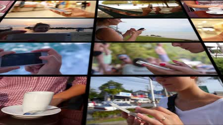 motivo : Collage Using Smartphone Concept. Montage Video Stock Footage