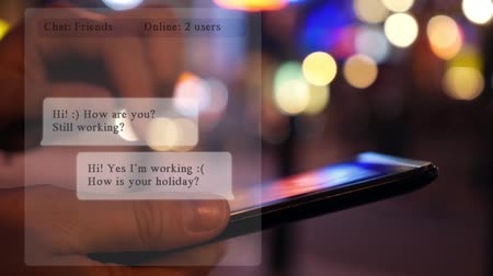 жить : Chatting on Tablet at Night City. Animation Messages