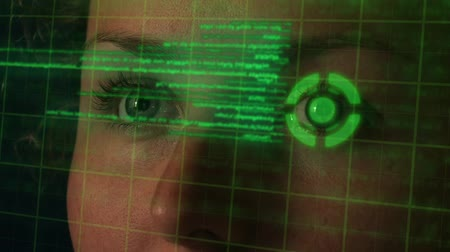 operasyon : Futuristic Programmer with Cyber Eye Coding on Hologramic Interface. Hi-tech Concept