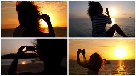 devise : Montage Woman Taking Photo of Amaging Sunset - Composition