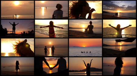 távozás : Montage Romantic Vacation. Sunset Concept