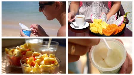 kahvaltı : Healthy Food - Montage. Fresh Ftuits for Breakfast