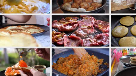 chef cooking : Collage Cooking Food at Home Stock Footage