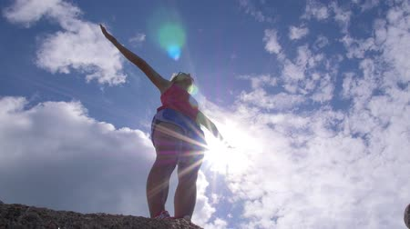 motivasyonel : Summer Freedom Joyful Woman Raising Arms to Sky. Slow Motion.  HD, 1920x1080.