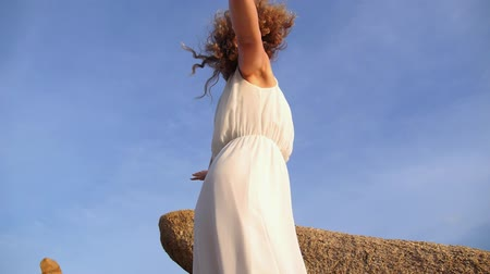 serbest : Healthy Lifestyle - Free Happy Woman Spreading Arms to Sky. Slow Motion.  HD, 1920x1080.