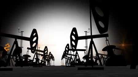 pompki : Oil Pump Black Silhouettes at Oil Well. Animation. HD, 1920x1080. Wideo