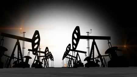 oil industry : Oil Pump Jack Silhouettes Animation. HD, 1920x1080.