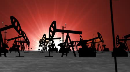 exploration : Oil Pump. Energy Industrial Machine for Petroleum at Sunset Background. Animation. HD, 1920x1080. Stock Footage