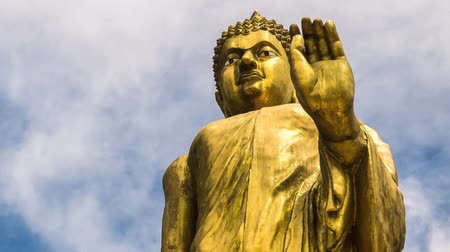 budist : Religious Statue of Buddha and Blue Sky. Timelapse. Thailand. Koh Samui. HD, 1920x1080. Stok Video