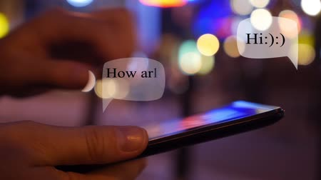 chatting : Chatting with Smartphone in Night City. Send and Get Animation Message.