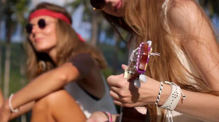 hippi : Beautiful Boho Hippie Women with Guitar in Summer