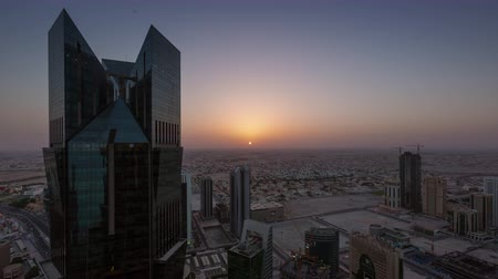 Doha skyline timelapse video day to night night lights skycreapers downtown Qatar, Middle East