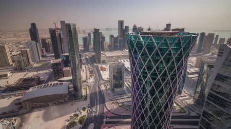arabian peninsula : Doha skyline downtown skycreapers timelapse video from rooftop Qatar, Middle East