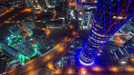 perzsa : Doha timelapse video night lights skycreapers Qatar, Middle East