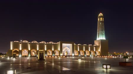 Doha timelapse video night lights mosque Qatar, Middle East Vídeos