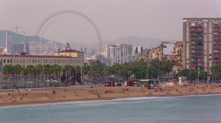 BARCELONA, CATALONIA, SPAIN Timelapse city centre beach modern buildings holidays Стоковые видеозаписи