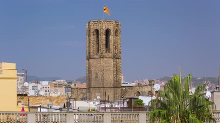 BARCELONA, CATALONIA, SPAIN Timelapse of Forum district city centre old buildings holidays