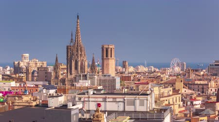 BARCELONA, CATALONIA, SPAIN Timelapse city centre old buildings rooftop