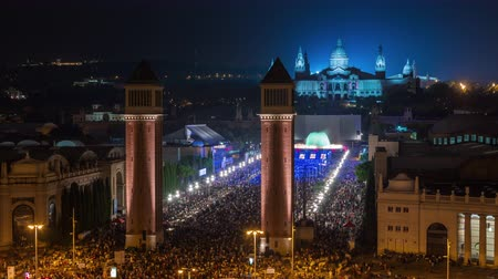 BARCELONA, CATALONIA, SPAIN - AUGUST 2015: Timelapse Placa De Espanya(Square of Spain) crowd traffic